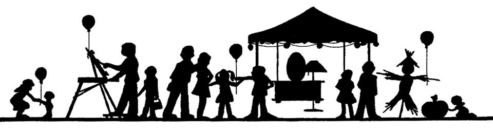 A banner black and white image of families doing various fun things at a  fall festival.  balloons, scarecrow, pumpkin, a painter are in the picture.